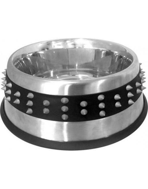 Stoere voederbak uit staal en rubberen band met studs - 20,5 cm - 850 ml