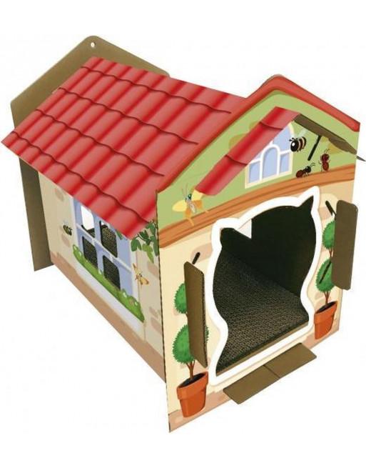Kattenhuis met krabvloer - karton - 42 x 35 x 50 cm