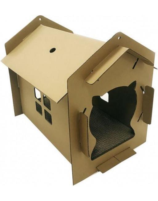Kattenhuis met krabvloer - karton - 42 x 35 x 50 cm - bruin