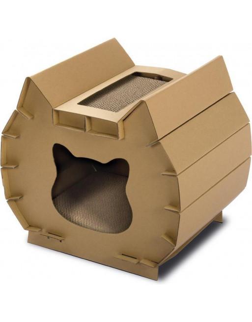 Krabhuis in vorm van kattenhoofd - 50 x 37 x 30 cm - bruin
