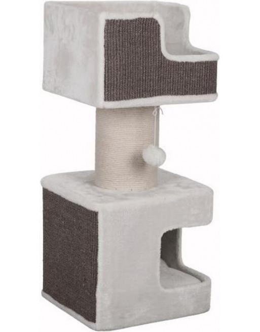 Krabpaal uit pluche en sisal - 39 x 39 x 86 cm - Wit/grijs