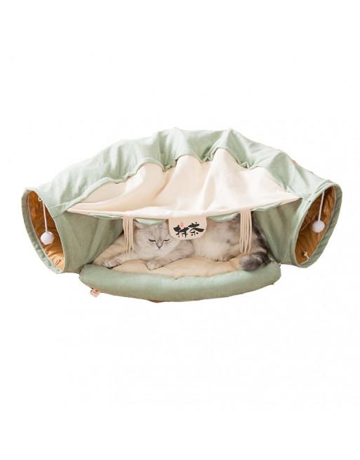 Speeltunnel kat - Opvouwbaar - Groen / wit