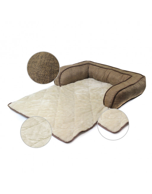 Comfortabele mand - zetelbescherming met zachte kussens voor uw hond of kat - bruin