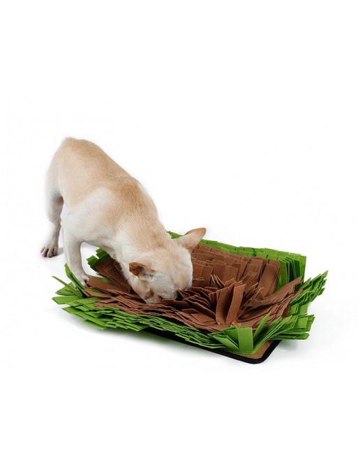 Mega honden snuffelmat - De ideale bewegingstraining - slow eating - 44 x 32 x 9 cm - GROEN/BRUIN