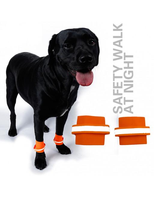 Reflecterende Elastische pootband - Veiligheid in donker voor uw hond - SMALL - ORANJE
