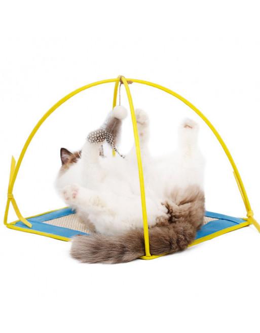 Speelstation voor katten - speelmat- krabmat - GEEL