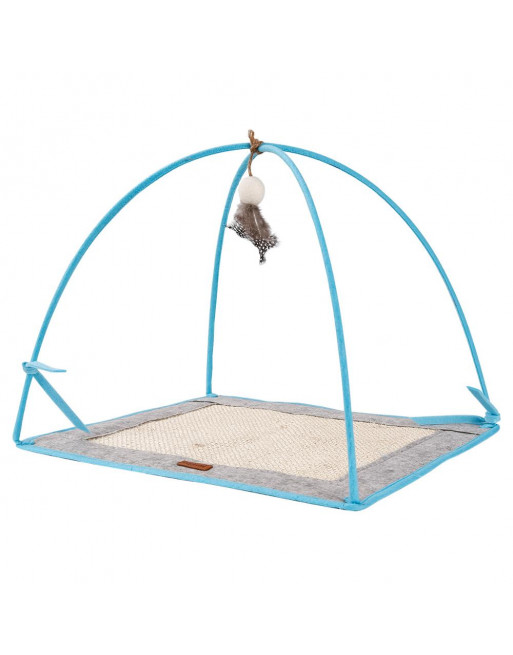 Speelstation voor katten - speelmat- krabmat - BLAUW