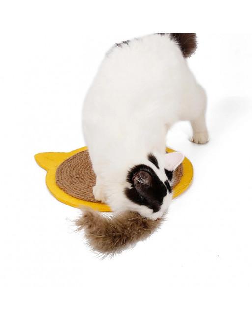 Krabmat voor katten in een speelse vormgeving - GEEL