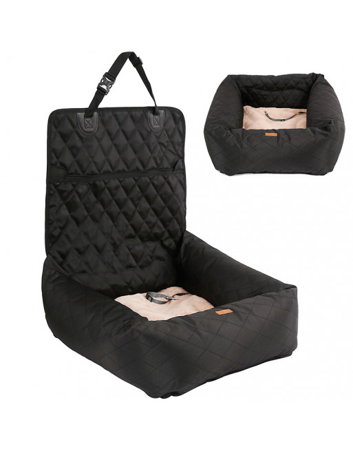 Deluxe 2 in 1 autostoel en hondenbed - ZWART