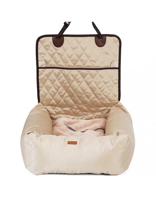 Deluxe 2 in 1 autostoel en hondenbed - BEIGE